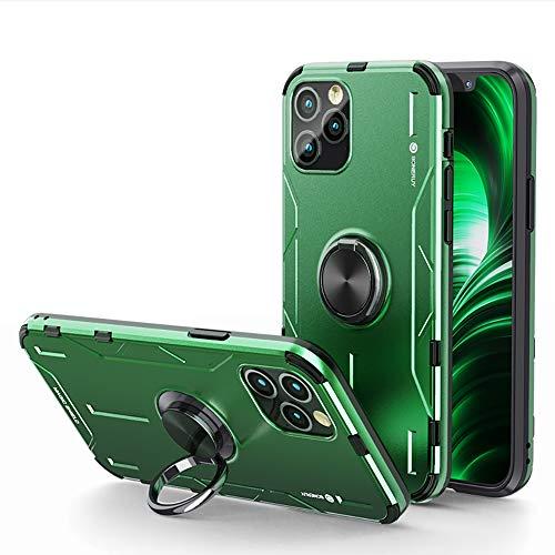 Jonwelsy Funda para iPhone 12 Pro MAX (6,7 Pulgada), Shockproof Flexible Silicona Carcasa + Aleación de Aluminio Cover con Rotación de 360 Grados Anillo iman Kickstand para iPhone 12 Pro MAX (Verde)