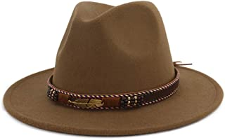 HUDANHUWEI Men Women Ethnic Felt Fedora Hat Wide Brim Panama Hats with Band