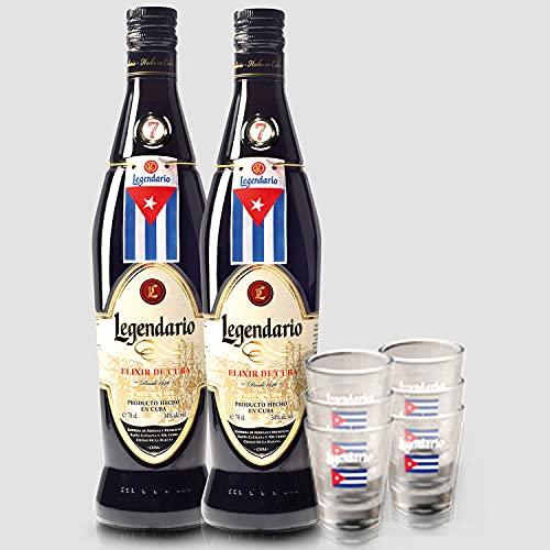 Smartbox - Caja Regalo - Ron Legendario a Domicilio: 2 Botellas de Elixir de Cuba y 6 Vasos de chupito - Ideas Regalos Originales