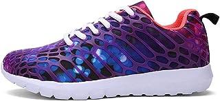 Williess Zapatillas de Deporte para Correr, Zapatos de Mujer, Camuflaje, Malla, Zapatos Casuales, Zapatos de Hombre. (Color : Púrpura, Size : 37)