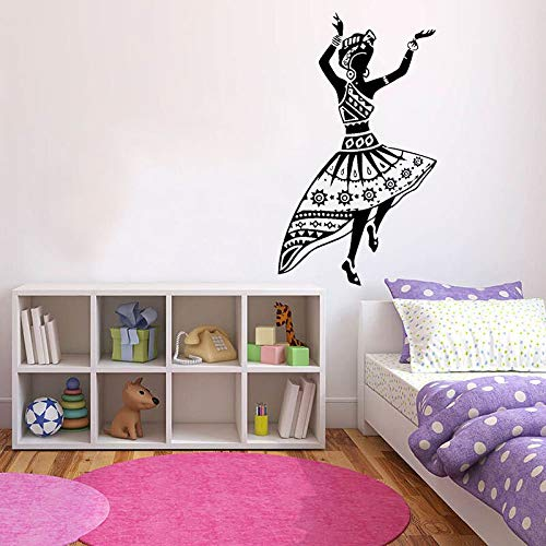 Pegatinas de pared de mujer bailando puertas y ventanas de estilo africano calcomanías de vinilo dormitorio de niña estudio de artista decoración de interiores arte bailarina mural
