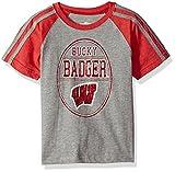 NCAA Cotton Willy Boys Raglan Short Sleeve Tee Wisconsin Badgers, Team Color, Large