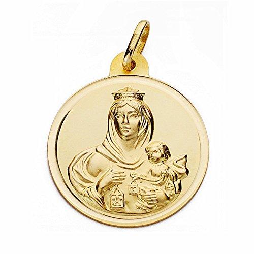 Medalla Oro 18K Virgen Del Carmen 26mm. Bisel Lisa [Aa2509Gr] - Personalizable - Grabación Incluida En El Precio