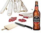 Pack FUET GOURMET + CERVEZA. Lote de Fuets BonBouquet + Estrella Galicia 24 ud. x 33 cl. + Tabla + Cuchillo de Corte (FUETS GOURMET)
