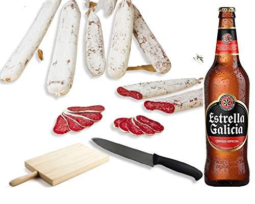 Pack de Fuet - Embutidos Gourmet + Cerveza. - BonBouquet - Longaniza de Pagés, Fuet de Pato y Fuet Royal + Estrella Galicia 6 ud. x 66 cl. + Tabla y Cuchillo de Corte.