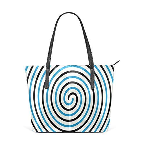 NR Multicolour Fashion Damen Handtaschen Schulterbeutel Umhängetaschen Damentaschen,Kurvenwinde in der Mitte fixiert Spirale Kegel Helix Figur hypnotisches Bild