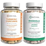 Premium Antiinflammatory Mood Adaptogen Bundle – Rhodiola and Turmeric Curcumin, Natural Herbs for Clarity, Improve Concentration, Plus Ginger & Bioperine to Enhance Absorb, Joint Relief, Energy Aid