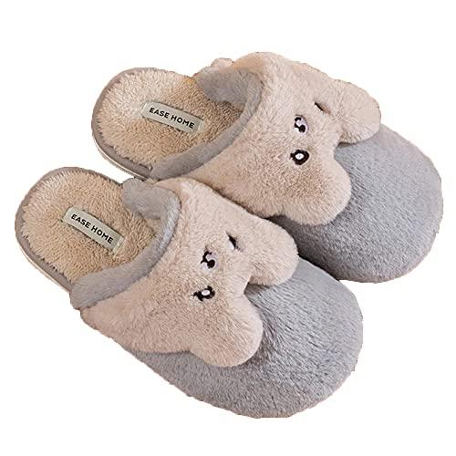 XYXYY Zapatillas de Lana con Dibujos Animados para Mujer, Zapatos de Invierno, Felpa, algodón (Color : Gris, Size : EU32-33)