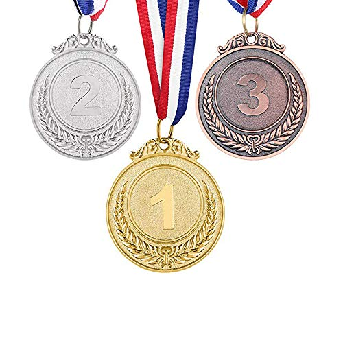 Gewinner Medaillen, Olympischer Stil, 3pcs Gold Splitter Bronze Medaillen, Set 1. 2. 3. Platz Kleines Weizenmuster Gold Silber Bronze Medaillen