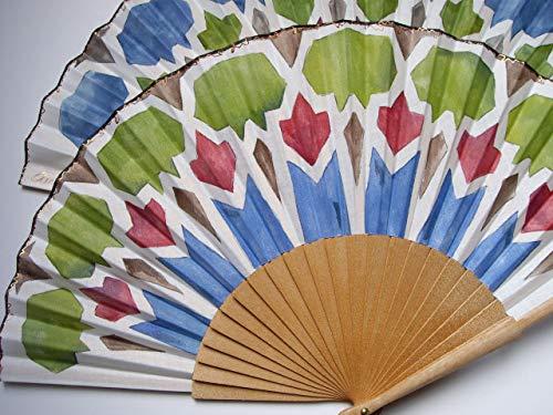 Abanico español/Abanico pintado a mano/Abanico azulejos/Abanico de madera/Abanico artesanal