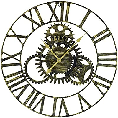 """Sorbus Large Decorative Wall Clock, 24"""" Round Oversized Centurian Roman Numeral Modern Style Home Decor Ideal for Living Room, Analog Gold Metal Clock"""