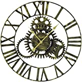 "Sorbus Large Decorative Wall Clock, 24"" Round Oversized Centurian Roman Numeral Modern Style Home Decor Ideal for Living Room, Analog Gold Metal Clock"
