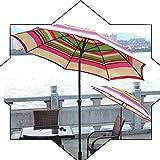 7.8 pies de inclinación del parasol de playa protección UV protector solar portátil Jardín Paraguas, impermeable al aire libre de la sombrilla paraguas for la pesca Terraza Mercado (rojo + verde rayas