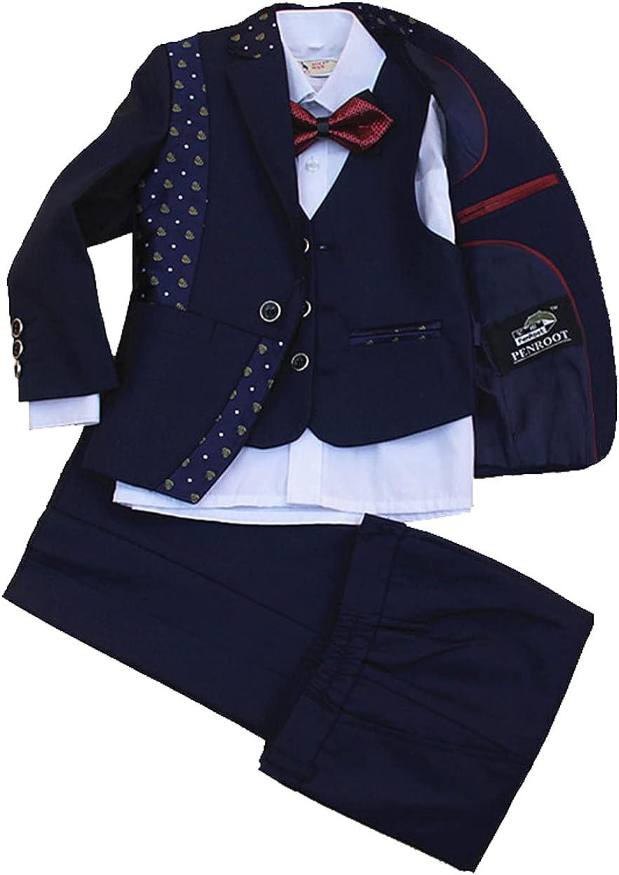 Boys Sets Suits Jacket with Pants 4 Pieces Jacket+Vest+Pants+Bow tie Dress Suit for Boys Size (Blue, 5)
