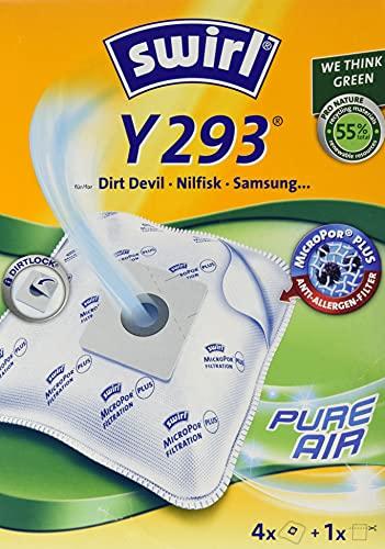 Swirl Y 293 MicroPor Plus Staubsaugerbeutel für Dirt Devil, Nilfisk, Samsung Staubsauger, Anti-Allergen-Filter, 4 Stück inkl. Filter