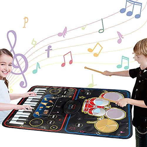 BUBHFYT Electronic Drum Kit Musical Instruments - Kids Portable Drum Set...