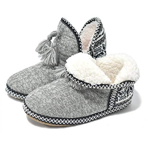 COFACE Damen-Hausschuhe Pantoffeln Stiefel Winter Slipper für Damen Bequem Stiefeletten Pantoffeln Indoor Damen Schlupfstiefel Warm Hüttenschuhe Hausstiefel Baumwolle WinterSchuhe für Zuhause
