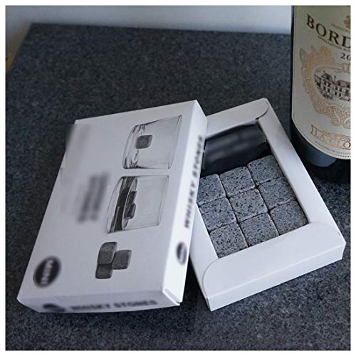 Whisky-Steine Geschenkset, 9er Set Whisky-Steine Kühlsteine aus Natürlichem Speckstein für Getränke mit Stoffbeutel Whiskey Rocks Eissteine Cooling Stones Eiswürfel, Wiederverwendbare Kühlsteine - 4
