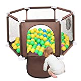 SYOSIN Portable Baby Playard Fence for Indoor and Outdoor with Carry Case and Washable/Adjustable, 6-Panel, Brown