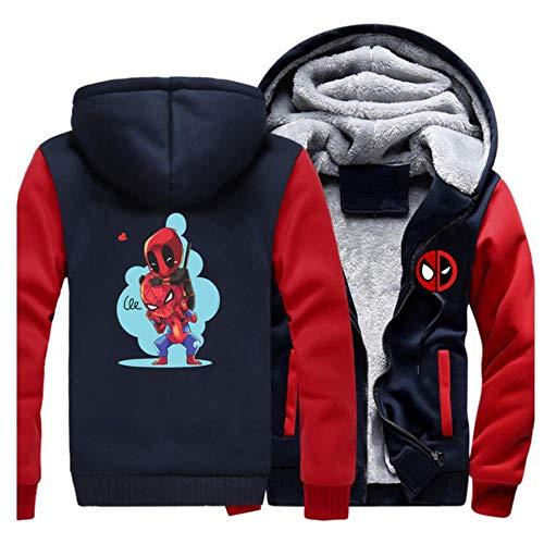 GuiSoHnh Herren Sweatjacke Hoodie 3D Drucken Deadpool Anime Cosplay Warme Winterjacke Kapuzenjacke mit Reißverschluss und Fleece-Innenseite M