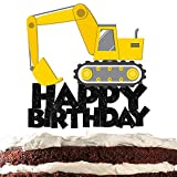 Construction Truck Cake Topper Happy Birthday Decor Excavator Vehicle Theme Picks for Baby Shower Birthday Glitter Party Decorations Supplies