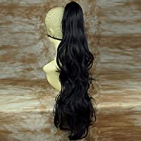 NEW Long BLACK Pony Tail Clip In Hair Extension wigs