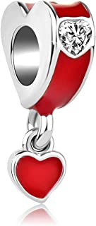 Q&Locket Red Double Heart Charm Charms Beads for Bracelets