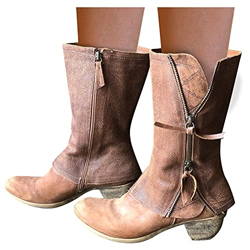 Dasongff Bottes larges pour femme à talons hauts - Bottes hautes pour femme - Bottes d'équitation d'hiver décontractées - Bottes de motard antidérapantes - Talon bloc - Bottes de cowboy