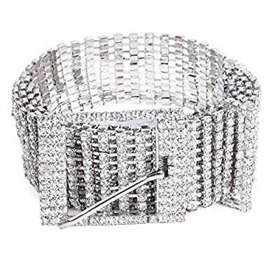 Women Rhinestone Chain Waist Belt,JASGOOD Party Club Sparkle Waistband,Silver Shiny Crystal Belts for Dress