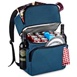 Cooler Backpack Insulated Leakproof – 36 Cans, Soft, Double Deck Beer/Lunch Backpack Cooler – 10 Pockets, Large Cooler Bag for– Camping/Picnic/Hiking/Beach/Day Trip, Navy, by BLONDI&SAM.