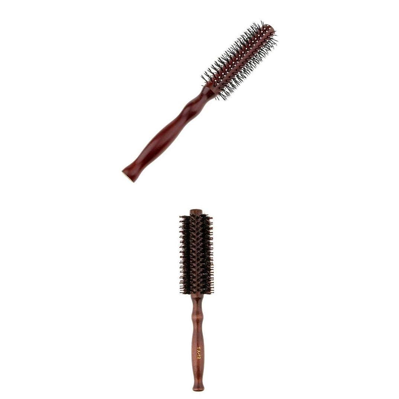熟考する定説高さPerfeclan 2点 カーリングヘアコーム ラウンドヘアブラシ ウッドハンドル 理髪 美容 ヘアブラシ