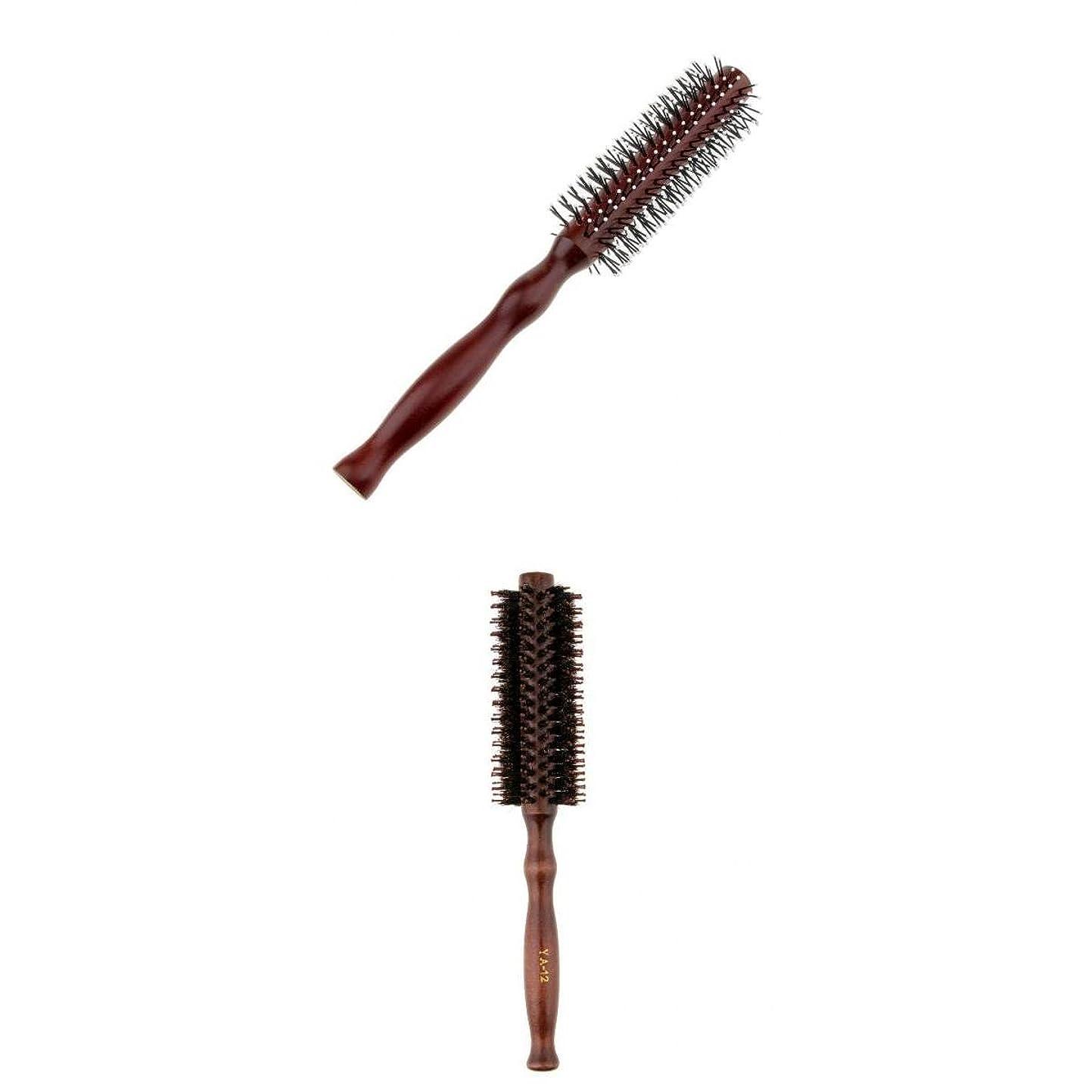 絶滅したアーチブラジャーDYNWAVE ヘアブラシ ロールブラシ ヘアコーム 木製櫛 理髪師 家庭 アクセサリー 2点入り