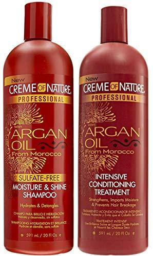 Creme of Nature Arganöl Sulfatfreies Feuchtigkeits- und Glanzshampoo 591 ml & Arganöl Intensive Konditionierungsbehandlung 591 ml