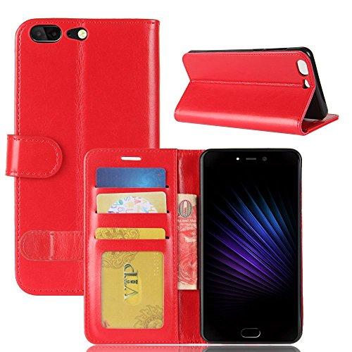 pinlu® Premium Geschäfts Art Luxus PU Leder Etui Schutzhülle Für Leagoo T5 Lederhülle Flip Hülle Brieftasche Mit Stand Function Innenschlitzen Design Rot