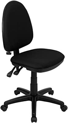 Flash Furniture Mid-Back Black Fabric Multifunction Swivel Ergonomic Task Office Chair with Adjustable Lumbar Support