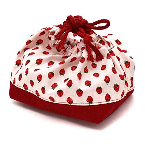 (レイラバッグストア) Layla bag store ランチ巾着 お弁当袋 赤×いちご