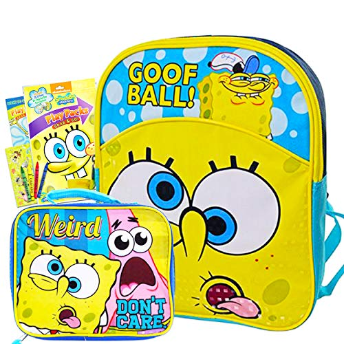 Spongebob Squarepants Mini Backpack and Lunch Box Set for Kids Boys Girls - 11' Small Toddler Preschool Spongebob Backpack with Insulated Lunch Bag and Spongebob Stickers