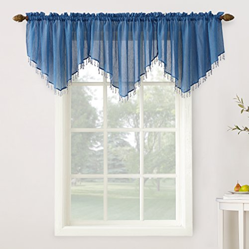 """No. 918 27224 Erica Crushed Texture Sheer Voile Beaded Ascot Rod Pocket Curtain Valance, 51"""" x 24"""", Blue"""