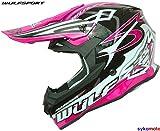 CASCO WULF ROSA SCEPTRE MOTO ADULTA LA DONNA MX QUAD ATV MTB BMX FUORISTRADA ENDURO ACU ORO OMOLOGATO (S (55-56 CM))