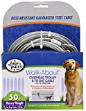 Four Paws Walk-About Overhead Trolley & Tie-Down Rust-Resistant Galvanized Steel Exerciser Cable for Dogs, 50'