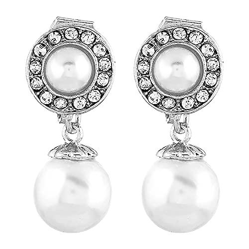 DOUHEN Pendientes de perlas de imitación para mujer, pendientes de concha de perlas bohemias, Aluminio,