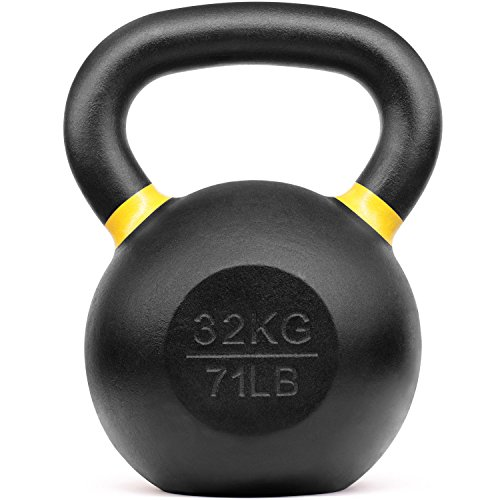 Yes4All Powder Coated Kettlebell Weights with Wide Handles & Flat Bottoms – 32kg/71lbs Cast Iron...