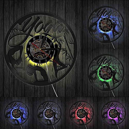 Encuentra tu equilibrio Yoga Cotizaciones en la vida Reloj de pared Yoga Studio Vinilo Record Reloj de pared Mandala Om Meditar Zen Lotus Buddha Spirit Luces LED