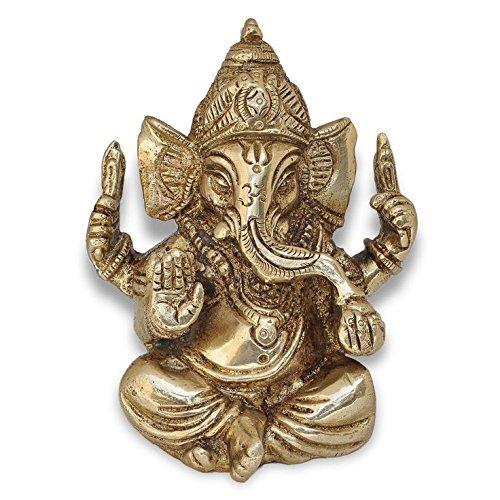 Zap Impex ® Ganesh, Ganpati, Messing Statue Indische Handcrafted Religiöse Skulptur von Ganesha, Antik-Look aus massivem Messing Skulptur Artefakt, Weinlese-dekorative, wertvolle Sammlung, Messing Finish, Hand Religiöse Geschenk, (2.5
