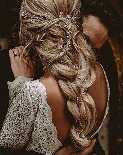 Zoestar Hochzeits-Haarreif, silberne Perlen, Kristall-Stirnbänder, Perlen-Kopfschmuck, Brautschmuck, Haarschmuck für Frauen und Mädchen