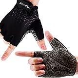 boildeg Guantes Ciclismo,Guantes Bicicleta, Lycra Terry Cloth Almohadilla Gel Gruesa Guantes MTB Medio-Dedo Acolchado Antideslizante Transpirable para Hombres Mujeres (Negro, XL)