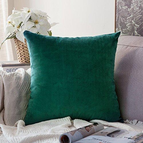 MIULEE Terciopelo Suave Funda de Cojín Decorativo Cuadrado Manta Funda de Almohada para Sofá Dormitorio Coche con Cremallera Invisible, 16'x16',40x40cm,1 Pieza Verde Malaquita