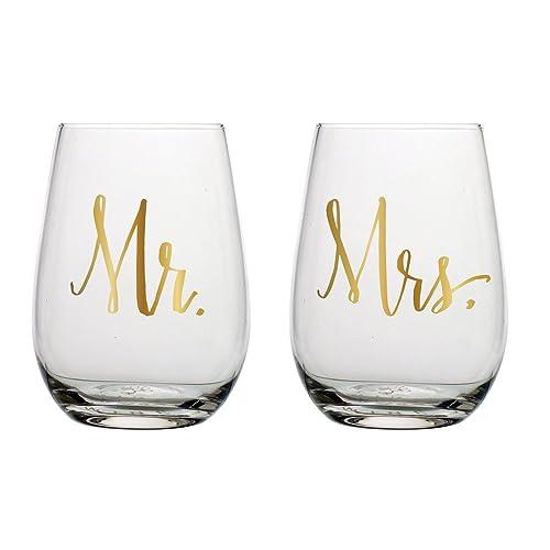 Slant Mr & Mrs Stemless Wine Glasses- Set of 2