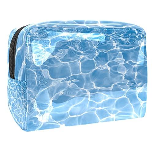 Bolsa de cosméticos para Mujeres Superficie de Agua Azul Bolsas de Maquillaje espaciosas Neceser de Viaje Organizador de Accesorios