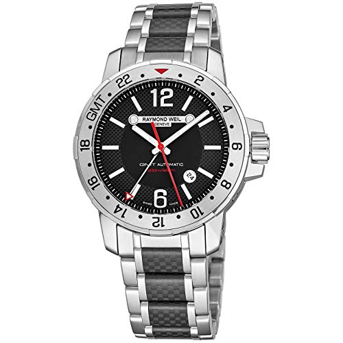 Raymond Weil Nabucco Mens Stainless Steel Automatic GMT Watch - 44mm Black Face with Luminous Hands, Date, Sapphire Crystal - Water Resistant 200 Meters Swiss Made Dual Time Zone Watch 3800-SCF-05207